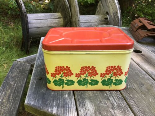 Vintage Red Floral National Can Corporation Tin Metal Bread Box