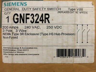 New Siemens Gnf324r 200 Amp 240v Non-fusible 3ph Safety Switch Disconnect 3r