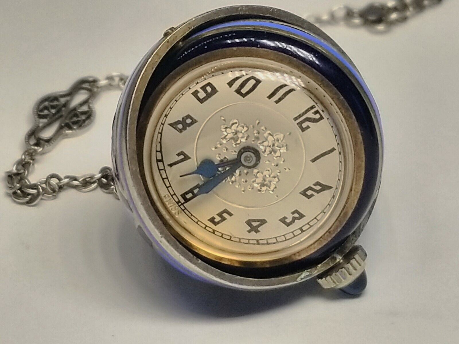 Vintage Silver Enamel Counter-Balanced Rotating Pocket Watch Pendant Necklace