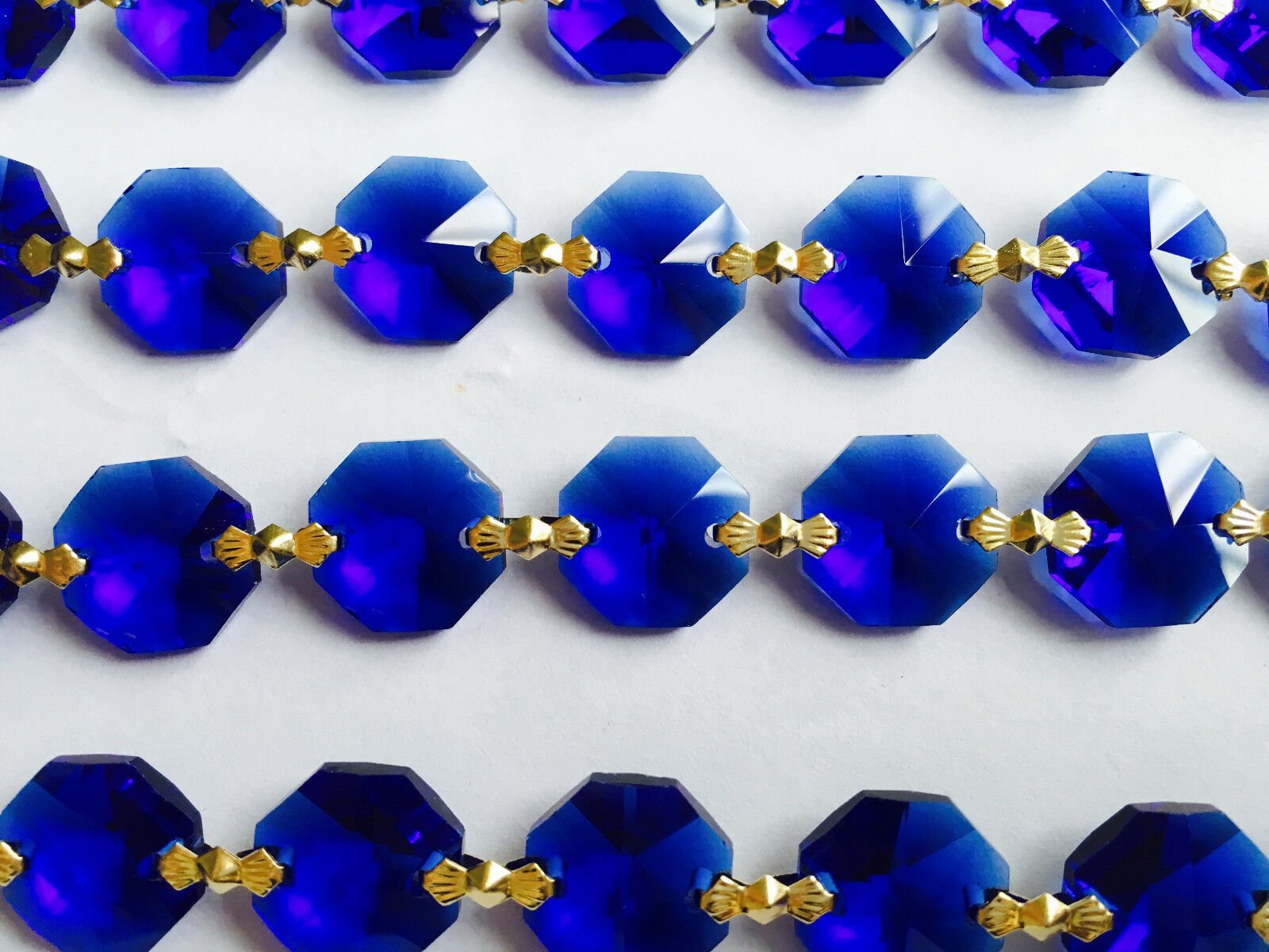 3ft blue crystal14mm glass bead chandelier lamp part wedding garland gold chain ebay - Chandelier glass beads ...