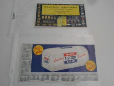 2 vintage ink blotter advertising BREAD w/ calendar drug store military