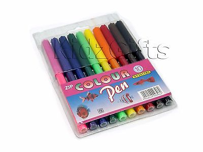 10 Felt Tip Pens Assorted Colours Wallet Art Craft Colouring Drawing Sketching