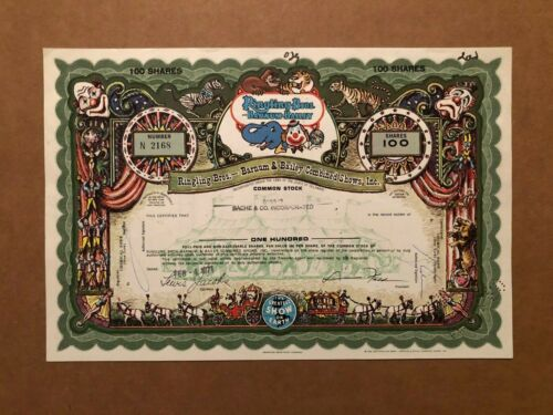 RINGLING BROS BARNUM & BAILEY 1971 STOCK CERTIFICATE CIRCUS ISSUED GREEN VARIETY