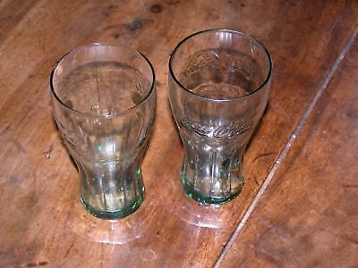 2 Mini Coca Cola Glasses in Georgian Green 16 Ounces Excellent Condition Juice