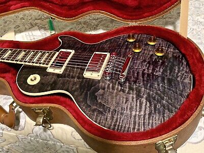 NO RESERVE!! UNIQUE TRANS BLACK!! GIBSON LES PAUL STANDARD WITH HARDSHELL CASE