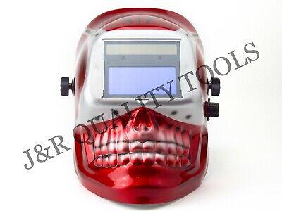 Migtig Auto Darkening Welding Helmet -red Skull Shape Design Extra Large Lens