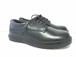 vegace slip resistant black leather work shoe