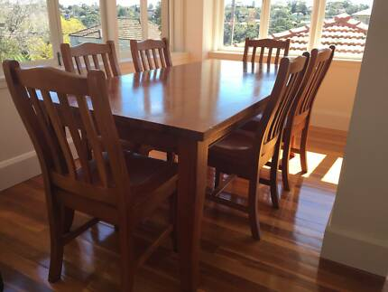 Solid Timber Dining Table & 6 Chairs