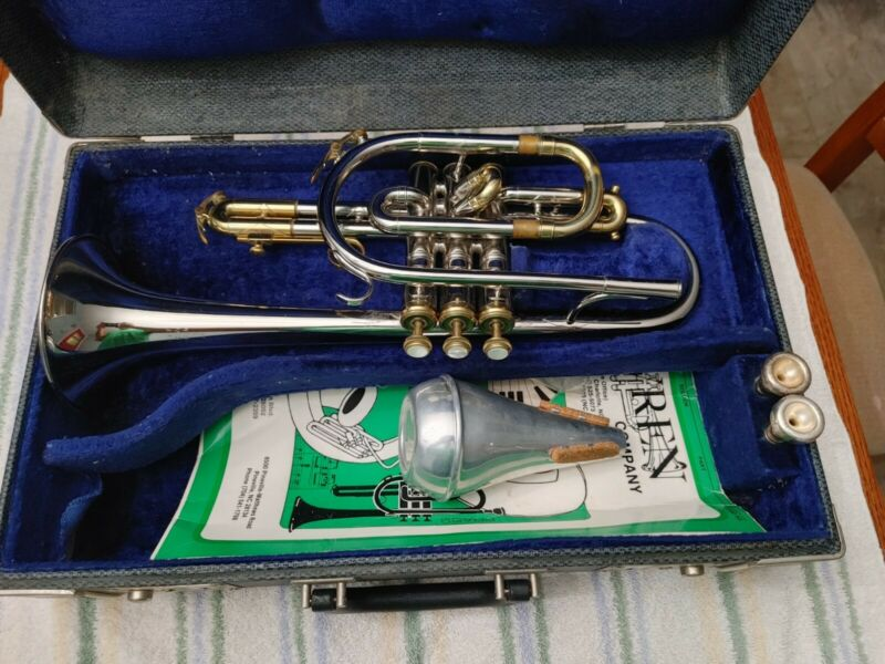 King Tempo Cornet Brass and Silver Lacquer Finish Trumpet BEAUTIFUL