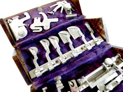 Restored Antique 1889 Singer Puzzle Sewing Machine Oak Box with Purple Cloth