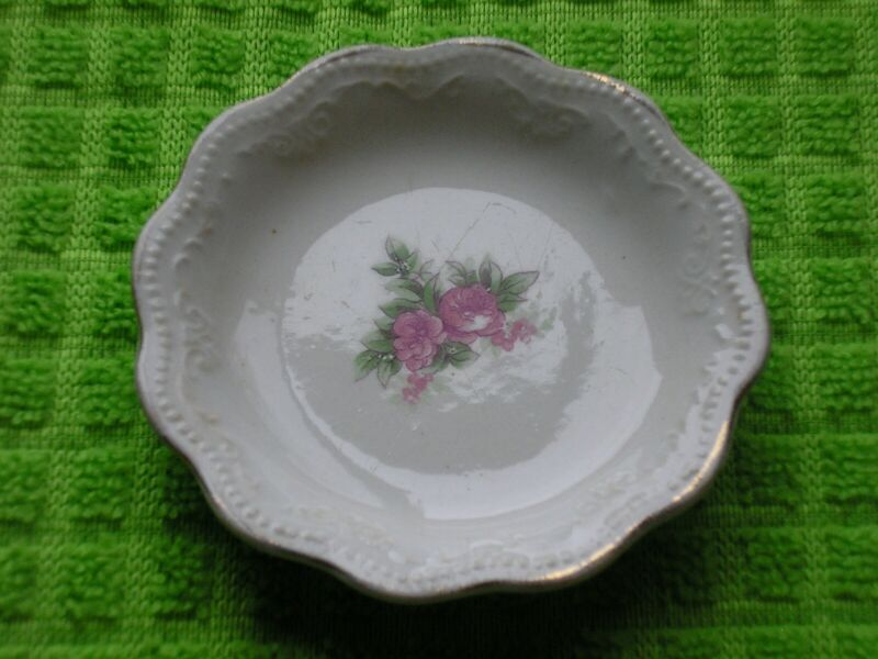 Antique Butter Pat - Unmarked - Pink Floral