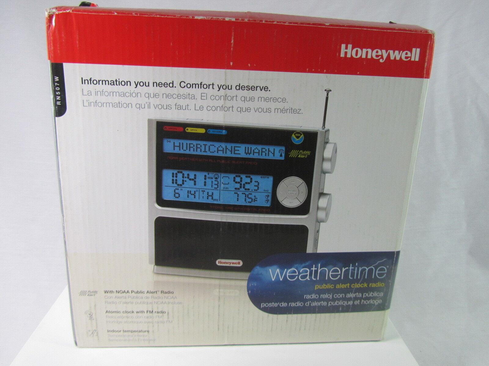 NEW Genuine  Honeywell RN507W NOAA FM Radio with Atomic Clock  Black