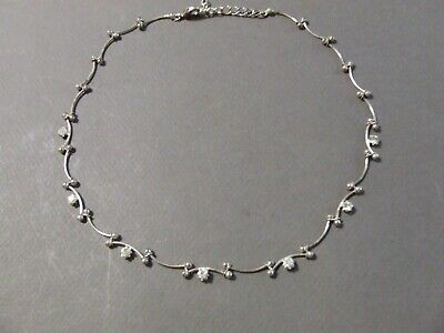 VINTAGE RHINESTONE CURVED LINK SILVERTONE CHOKER NECKLACE 16