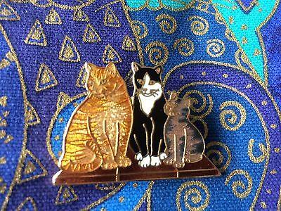 Vintage Cats Orange Black White Kittens Enamel Figural Cat Brooch Pin