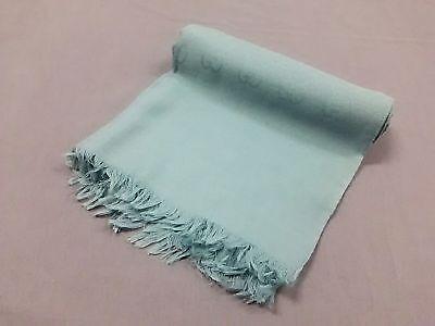Auth GUCCI GG Green Wool Silk Scarf
