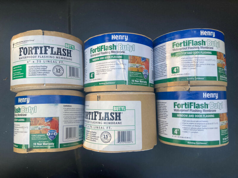 "FortiFlash Waterproof Flashing Membrane 4""x 75ft   (6ROLLS)"