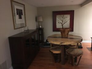 Tree Trunk -solid wood table & 4  Stools