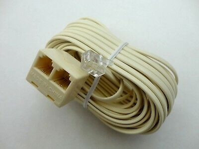 - 25ft. Modular Plug to Double Jack Extension Telephone Flat Line Cord, 6P4C Ivory