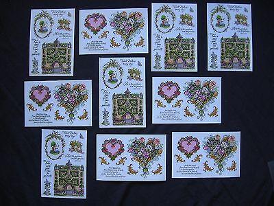 LOT 10 sh Vellum PSX Stickers Hearts English Garden Quotes Flowers Bouquets SALE