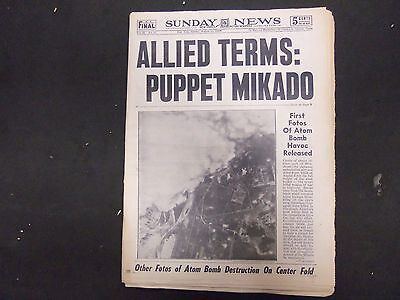 1945 August 12 New York Sunday News   Allied Terms  Pupper Mikado   Np 2282