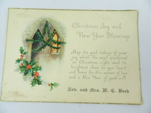 Vintage Greeting Card Christmas Joy & New Year Blessing