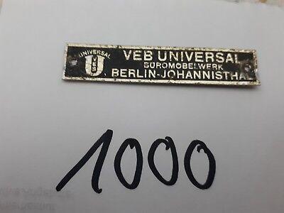 Werbeschild VEB UNIVERSL Büromöbelwerk Berlin-Johannisthal ca 6,5 x 1,3 cm