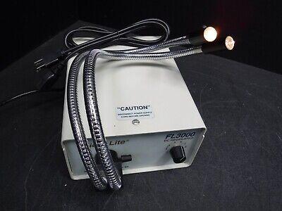 Used Micro-lite Fl3000-d Fiber Optic Lab Light Source Wdual Flex Light K6