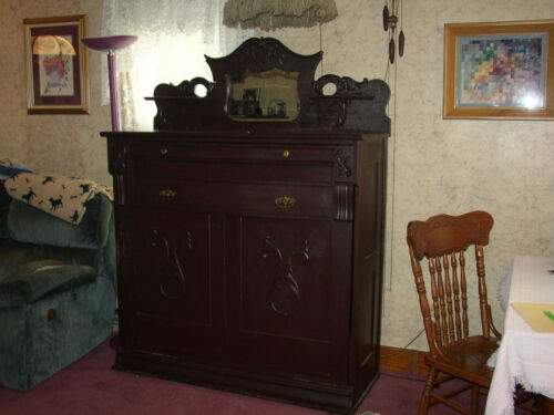 Antique Folding bed dresser cabinet with  mirror Murphy bed Parlor bed
