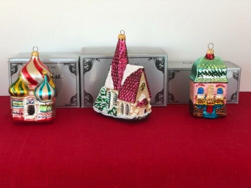 Retired Kurt Adler Polonaise Lot of 3  Church/House Handblown Glass Ornaments