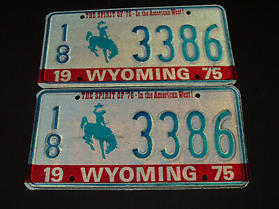 Pair of 1975 Wyoming License Plate Tags 3386