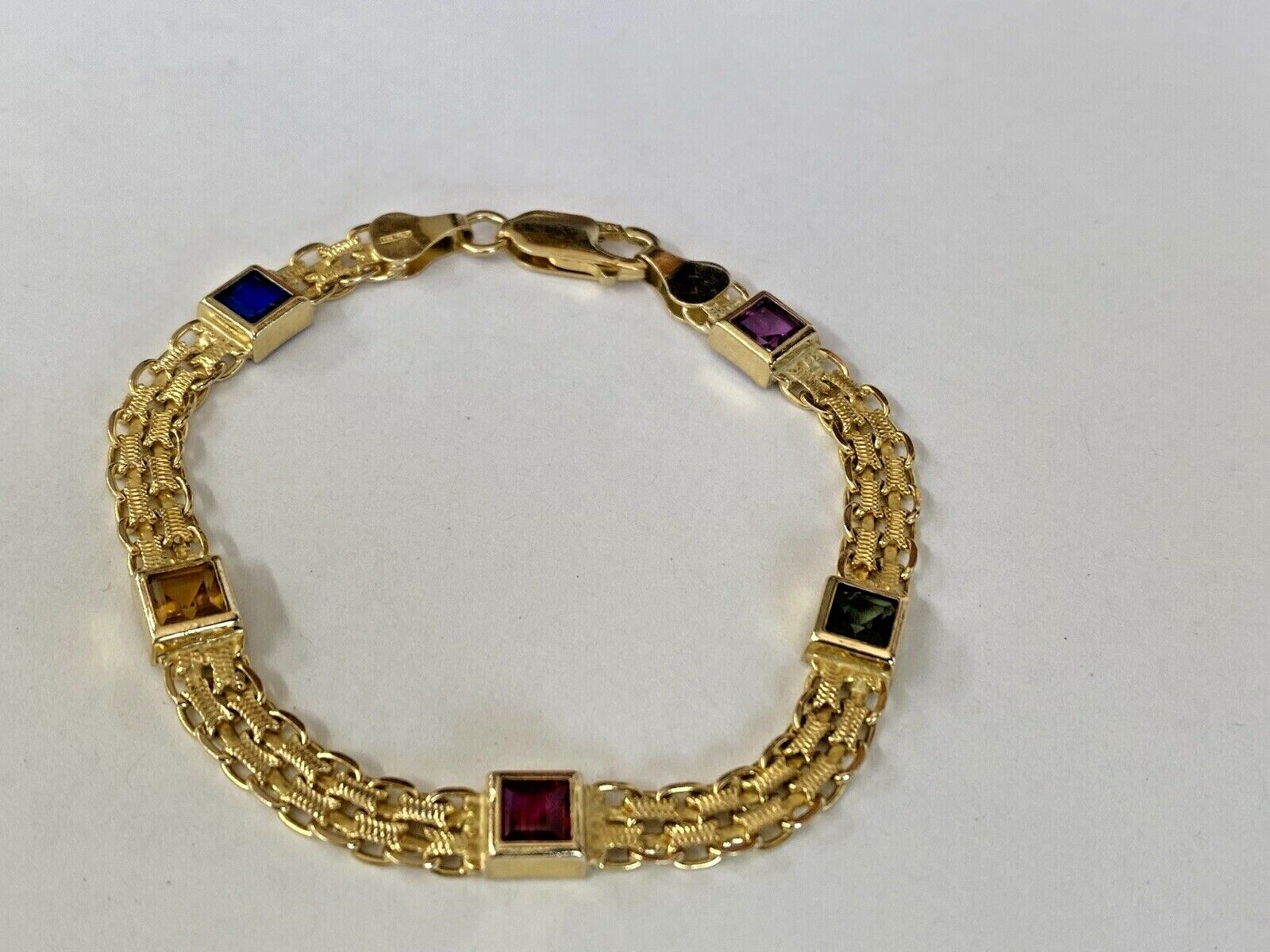 14k Yellow Gold w/ Colored Stones Women's Bracelet 6.3mm  7 1/4 Inches PRETTY!!! 1