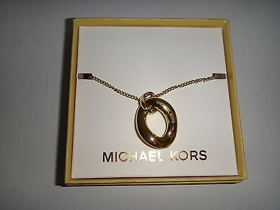MICHAEL KORS Women's Gold Tone Adjustable Necklace Pendant  MKJ5773710 + MK BOX
