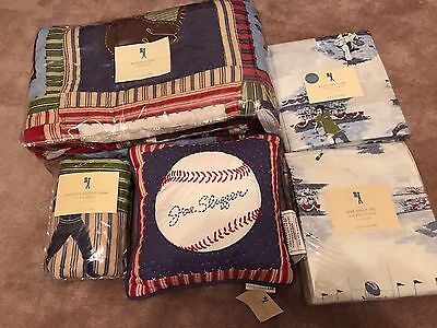 New 7pc Pottery Barn Kids Athletics MVP SPORTS Twin Quilt Set Complete Boy