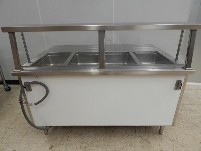 Colorpoint 4-Bay Electric Steam Table with Sneezeguard, SE4-CPA