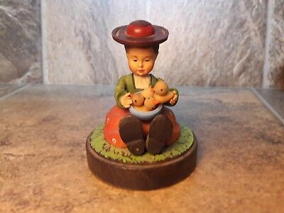 """vtg. Rare Anri Carved Wood Figurine Young Girl With Basket Baby Chicks 3"""" ta;;"""