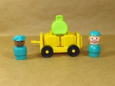 Vintage Fisher Price Little People Airport wooden pilot+ stewardess luggage cart