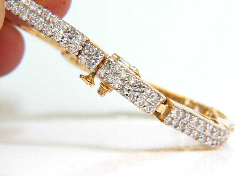 █$9,000 Video 3.10ct Diamonds Deco Wave Link Bracelet 14kt Yellow Gold Sparkle █