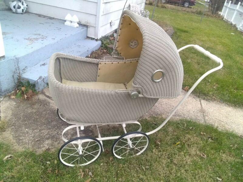 Antique Wicker Baby Carriage Stroller Pram