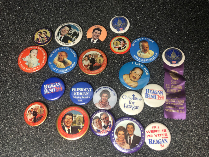 Ronald Reagan Bush Presidential Campaign Pin Button Collection Lot Of 21 Buttons