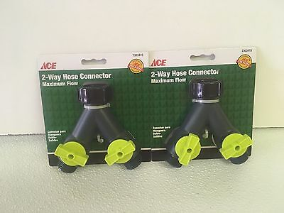 - 2 Pack Ace 7303415 2-Way Hose Connector Y Splitter ACE Brand New Faucet Adapter