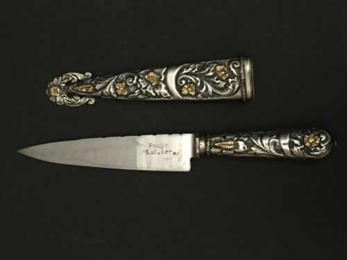 VTG Collectible 800 Silver Pampa Argentina Gaucho Boot Knife Sheath Gold Accents