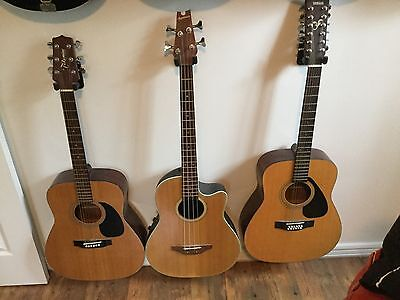 Lot Of 3 Guitars- , Yamaha 12 String, Takamine Applause Acoustic/Electric Bass