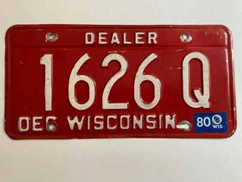 1980 Wisconsin Dealer License Plate All Original
