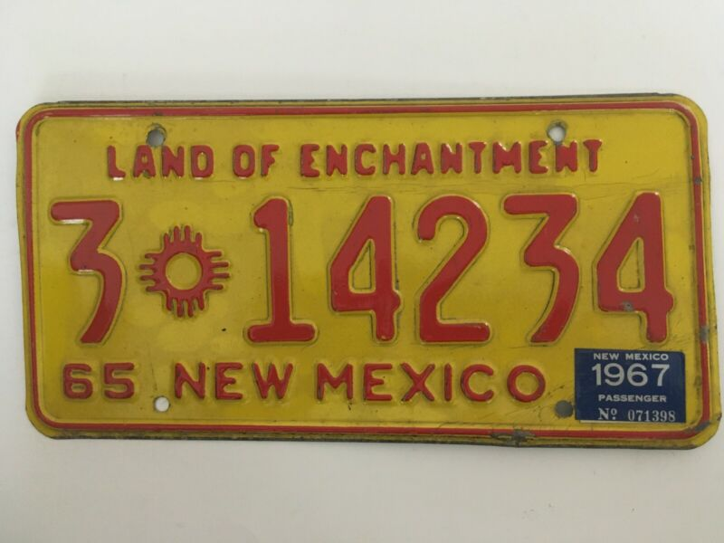 1967 New Mexico License Plate Natural Sticker