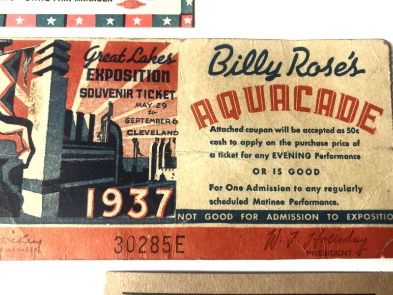 Great Lakes EXPO 1937 Ticket RARE