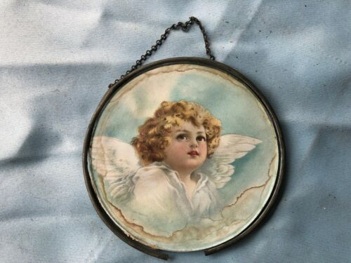 Gorgeous CHIMNEY FLUE COVER German VICTORIAN ANGEL CUPID Round Glass Vintage