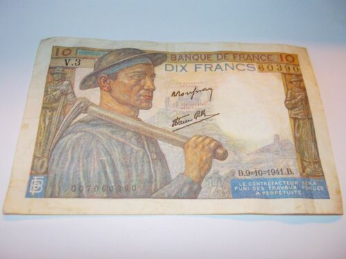 1941 10 FRANCS FRANCE FRENCH CURRENCY WWII - VERY GOOD CONDITION!