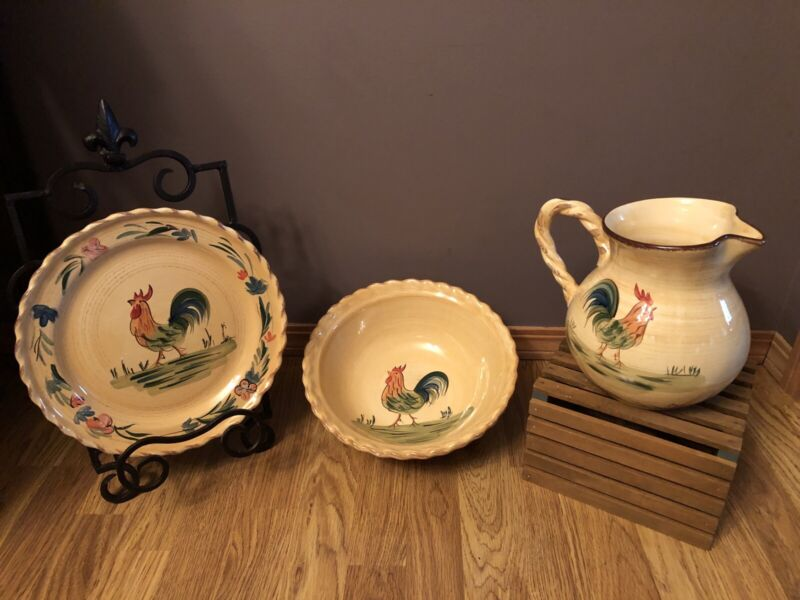Home Ceramic Rooster Pitcher, Large Plate and Serving Bowl Set