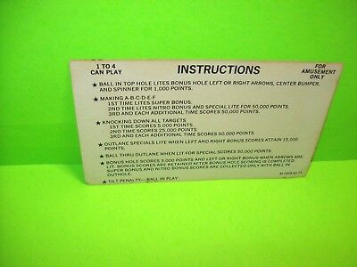 Bally NITRO GROUND SHAKER Original 1978 Pinball Machine Instruction Rules Card