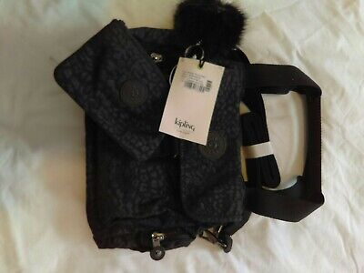 Kipling brand new bag fairfax and symi purse in cheetah embossed black with tag